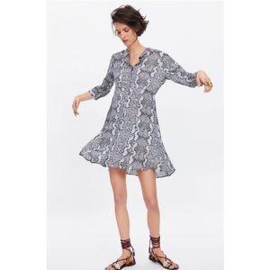 Zara Gray Snake Print Button Down Shirt Dress